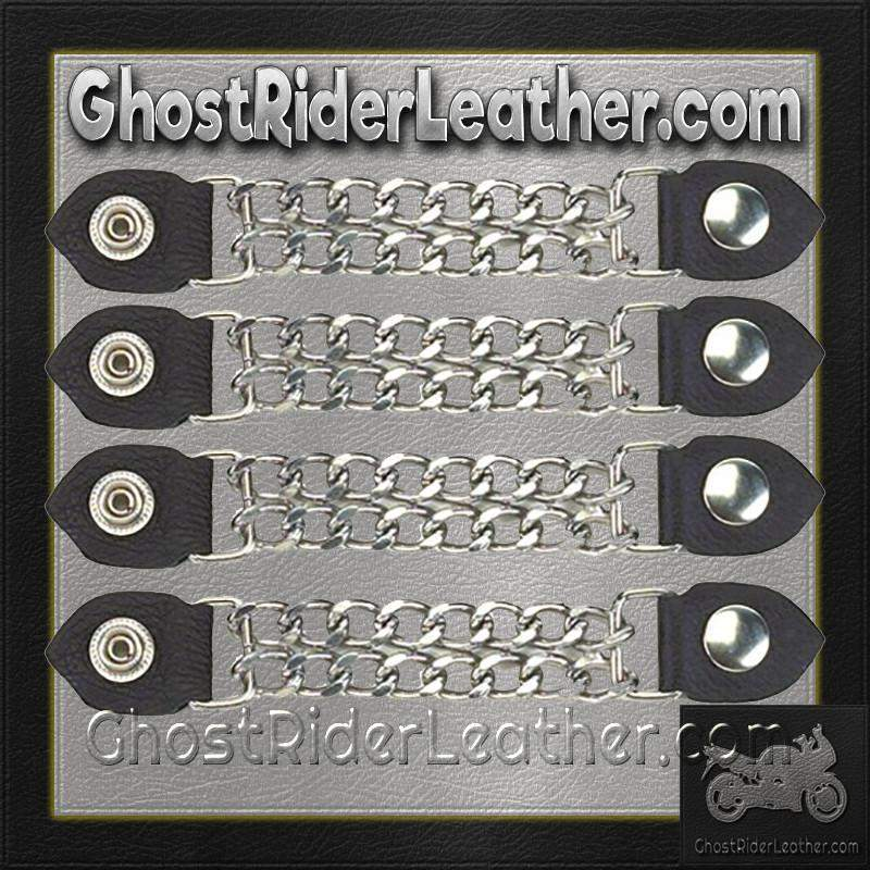 Set of Four Plain Snap On Vest Extenders with Chrome Chain / SKU GRL-AC1050-DL-vest extender-Ghost Rider Leather