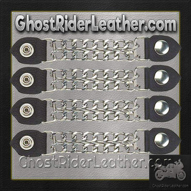 Set of Four Plain Snap On Vest Extenders with Chrome Chain / SKU GRL-AC1050-DL - Ghost Rider Leather