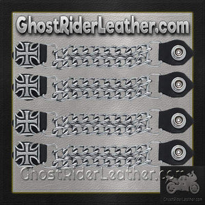 Set of Four Iron Cross Vest Extenders with Chrome Chain / SKU GRL-AC1053-DL - Ghost Rider Leather