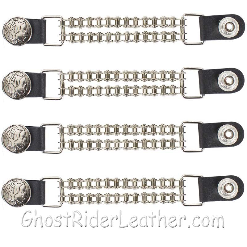 Set of Four Indian Head Nickel Vest Extenders with Chrome Motorcycle Chain / SKU GRL-AC1054-BC-DL-vest extender-Ghost Rider Leather