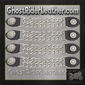 Set of Four Indian Head Nickel Vest Extenders with Chrome Chain / SKU GRL-AC1054-DL - Ghost Rider Leather