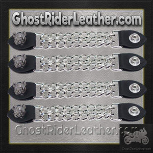 Set of Four Smiling Hog Vest Extenders with Chrome Chain / SKU GRL-AC1055-DL-vest extender-Ghost Rider Leather