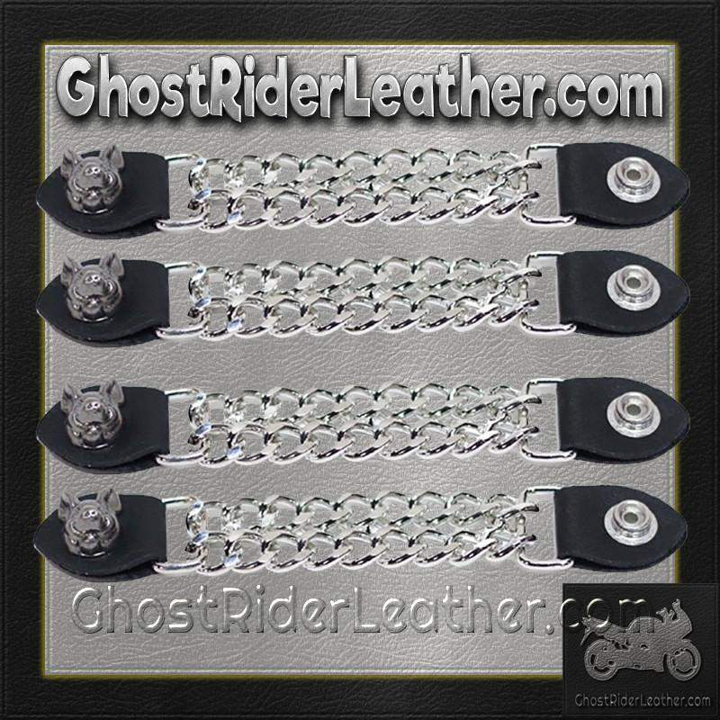 Set of Four Smiling Hog Vest Extenders with Chrome Chain / SKU GRL-AC1055-DL - Ghost Rider Leather
