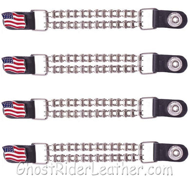 Set of Four USA Flag Vest Extenders with Chrome Motorcycle Chain / SKU GRL-AC1058-BC-DL - Ghost Rider Leather