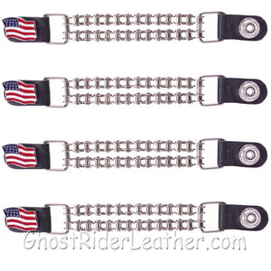 Set of Four USA Flag Vest Extenders with Chrome Motorcycle Chain / SKU GRL-AC1058-BC-DL-vest extender-Ghost Rider Leather