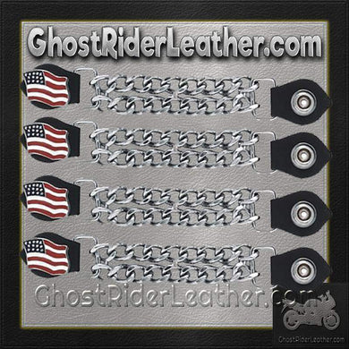 Set of Four USA Flag Vest Extenders with Chrome Chain / SKU GRL-AC1058-DL - Ghost Rider Leather
