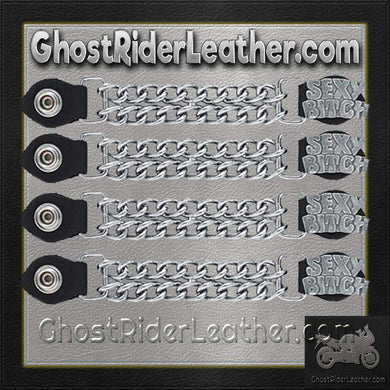 Set of Four Sexy Bitch Vest Extenders with Chrome Chain / SKU GRL-AC1059-DL - Ghost Rider Leather
