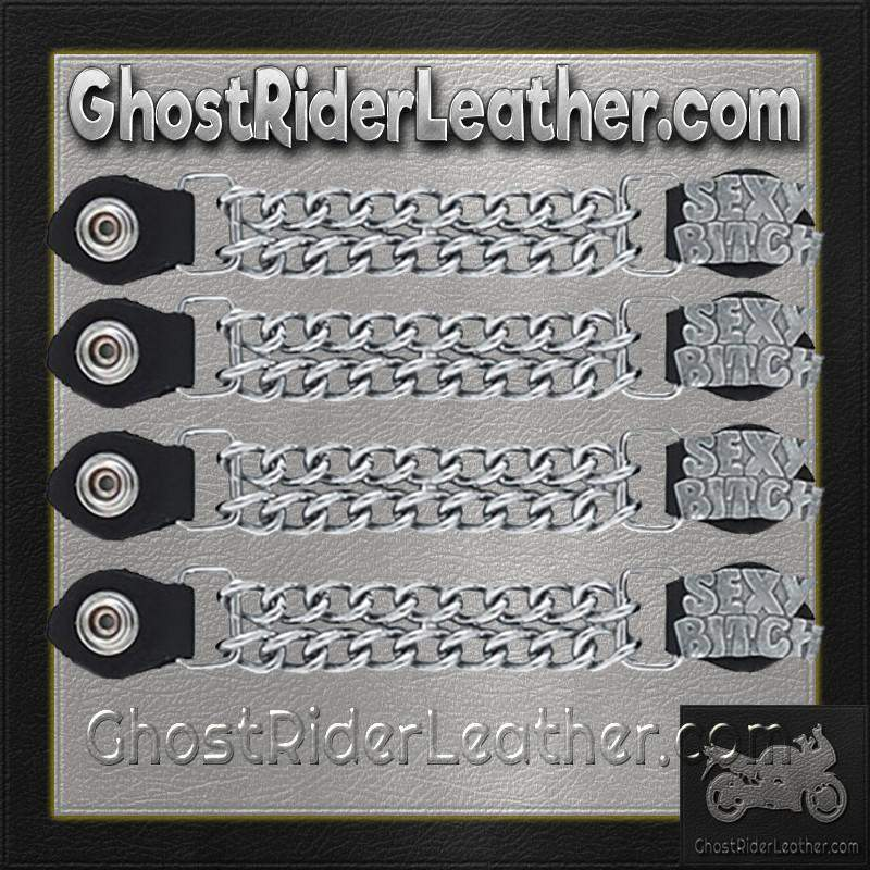 Set of Four Sexy Bitch Vest Extenders with Chrome Chain / SKU GRL-AC1059-DL-vest extender-Ghost Rider Leather