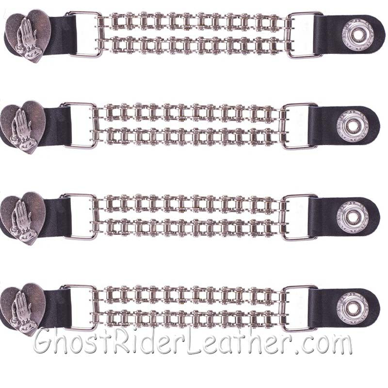 Set of Four Praying Hands Inside Heart Vest Extenders with Chrome Motorcycle Chain / SKU GRL-AC1062-BC-DL - Ghost Rider Leather