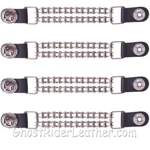 Set of Four Police Star Vest Extenders with Chrome Motorcycle Chain - SKU GRL-AC1063-BC-DL-vest extender-Ghost Rider Leather