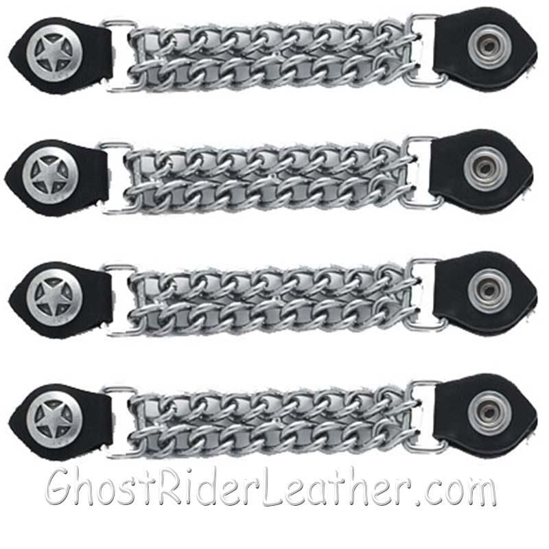 Set of Four Police Star Vest Extenders with Chrome Chain / SKU GRL-AC1063-DL-vest extender-Ghost Rider Leather