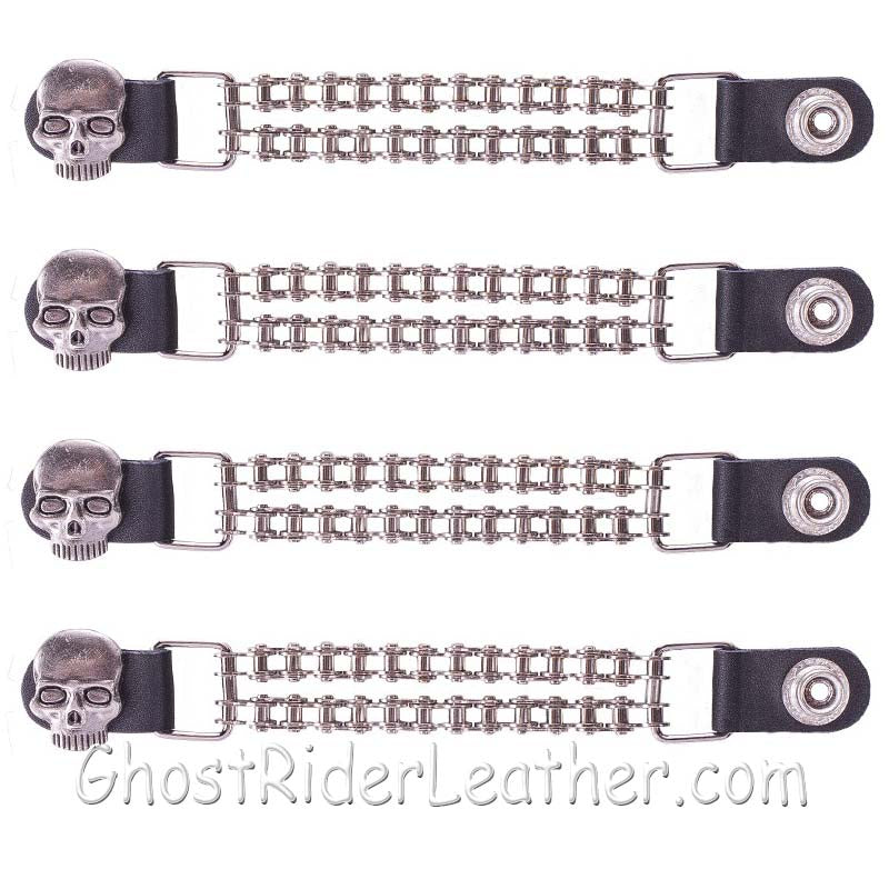 Set of Four Skull Vest Extenders with Chrome Motorcycle Chain / SKU GRL-AC1064-BC-DL-vest extender-Ghost Rider Leather