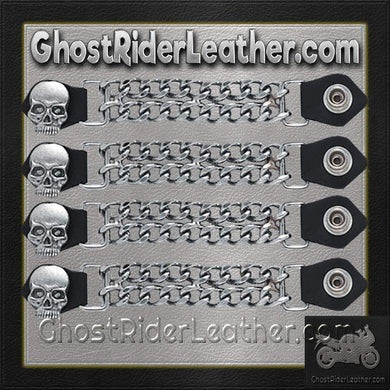 Set of Four Skull Vest Extenders with Chrome Chain / SKU GRL-AC1064-DL - Ghost Rider Leather