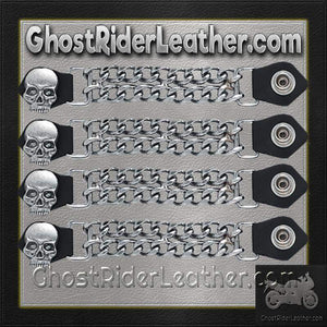 Set of Four Skull Vest Extenders with Chrome Chain / SKU GRL-AC1064-DL-vest extender-Ghost Rider Leather