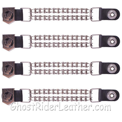Set of Four POW MIA Vest Extenders with Chrome Motorcycle Chain / SKU GRL-AC1065-BC-DL-vest extender-Ghost Rider Leather