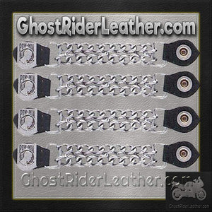 Set of Four POW MIA Vest Extenders with Chrome Chain / SKU GRL-AC1065-DL - Ghost Rider Leather