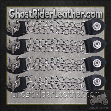 Set of Four Wolf Head Vest Extenders with Chrome Chain / SKU GRL-AC1067-DL - Ghost Rider Leather
