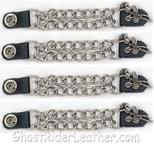 Set of Four Rose and Stem Vest Extenders with Chrome Chain / SKU GRL-AC1070-DL-vest extender-Ghost Rider Leather