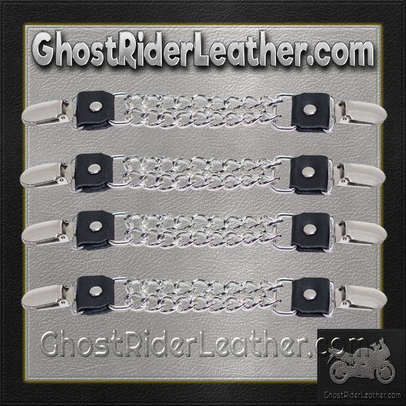 Set of Four Plain Clip On Vest Extenders with Chrome Chain / SKU GRL-AC1072-DL - Ghost Rider Leather