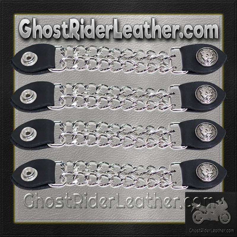 Set of Four Lady Liberty Silver Dime Vest Extenders with Chrome Chain / SKU GRL-AC1073-DL-vest extender-Ghost Rider Leather
