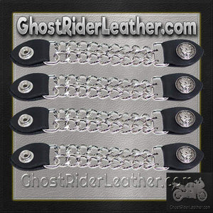Set of Four Lady Liberty Silver Dime Vest Extenders with Chrome Chain / SKU GRL-AC1073-DL - Ghost Rider Leather