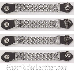 Set of Four Liberty Torch Vest Extenders with Chrome Chain / SKU GRL-AC1074-DL-vest extender-Ghost Rider Leather
