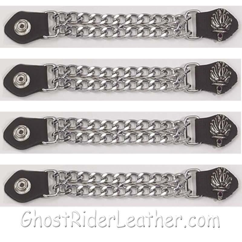 Set of Four Liberty Torch Vest Extenders with Chrome Chain / SKU GRL-AC1074-DL - Ghost Rider Leather