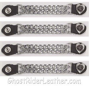 Set of Four Rose In Heart Vest Extenders with Chrome Chain / SKU GRL-AC1075-DL-vest extender-Ghost Rider Leather