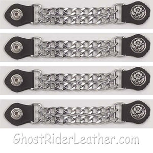 Set of Four Flower and Petals Vest Extenders with Chrome Chain / SKU GRL-AC1076-DL - Ghost Rider Leather