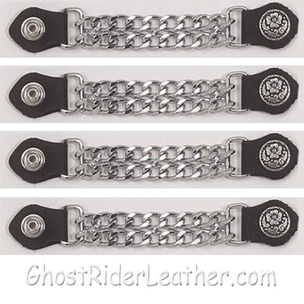 Set of Four Flower and Petals Vest Extenders with Chrome Chain / SKU GRL-AC1076-DL-vest extender-Ghost Rider Leather