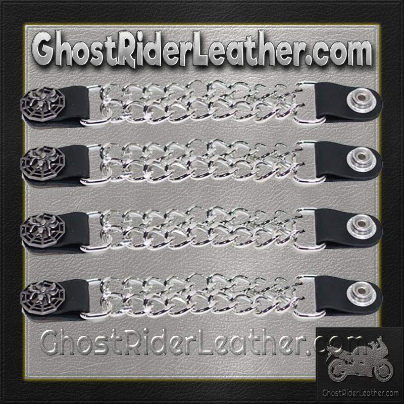 Set of Four Spider On Web Vest Extenders with Chrome Chain / SKU GRL-AC1077-DL-vest extender-Ghost Rider Leather