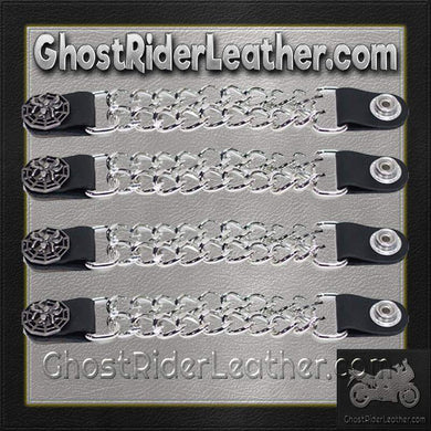 Set of Four Spider On Web Vest Extenders with Chrome Chain / SKU GRL-AC1077-DL - Ghost Rider Leather