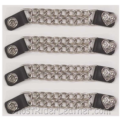 Set of Four Fancy Heart Vest Extenders with Chrome Chain / SKU GRL-AC1078-DL-vest extender-Ghost Rider Leather