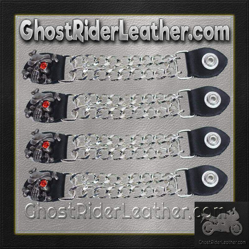 Set of Four Skull Crossbones Red Eye Vest Extenders with Chrome Chain / SKU GRL-AC1080-DL-vest extender-Ghost Rider Leather