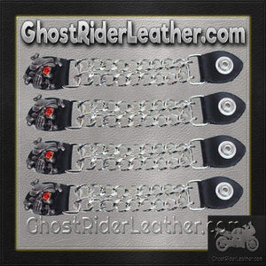 Set of Four Skull Crossbones Red Eye Vest Extenders with Chrome Chain / SKU GRL-AC1080-DL - Ghost Rider Leather