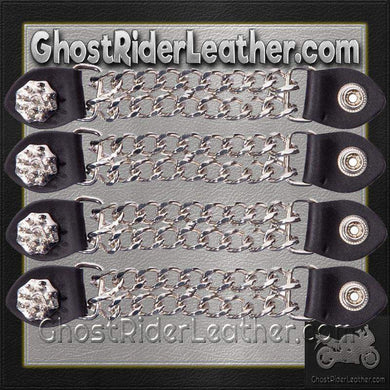 Set of Four Spike Design Vest Extenders with Chrome Chain / SKU GRL-AC1081-DL - Ghost Rider Leather