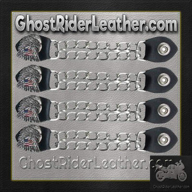 Set of Four Eagle With USA Flag Vest Extenders with Chrome Chain / SKU GRL-AC1083-DL - Ghost Rider Leather