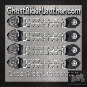 Set of Four Eagle With USA Flag Vest Extenders with Chrome Chain / SKU GRL-AC1083-DL-vest extender-Ghost Rider Leather