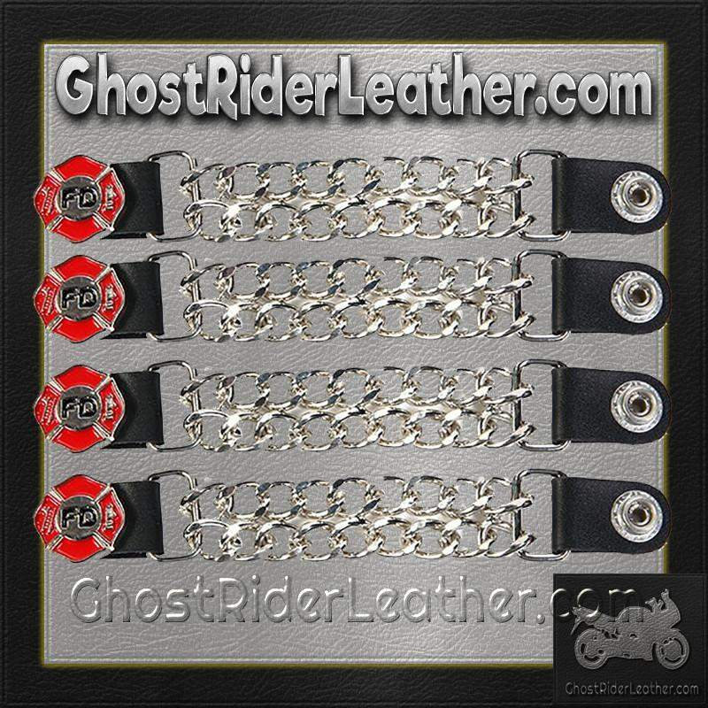Set of Four Fire Department Vest Extenders with Chrome Chain / SKU GRL-AC1097-FD-DL-vest extender-Ghost Rider Leather