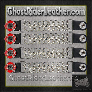 Set of Four Fire Department Vest Extenders with Chrome Chain / SKU GRL-AC1097-FD-DL - Ghost Rider Leather