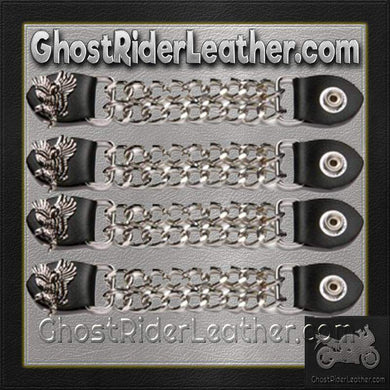 Set of Four Soaring Eagle Vest Extenders with Chrome Chain / SKU GRL-AC1098-E-DL - Ghost Rider Leather