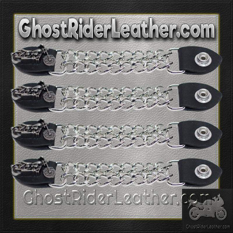 Set of Four Motorcycle Vest Extenders with Chrome Chain / SKU GRL-AC1100-DL - Ghost Rider Leather