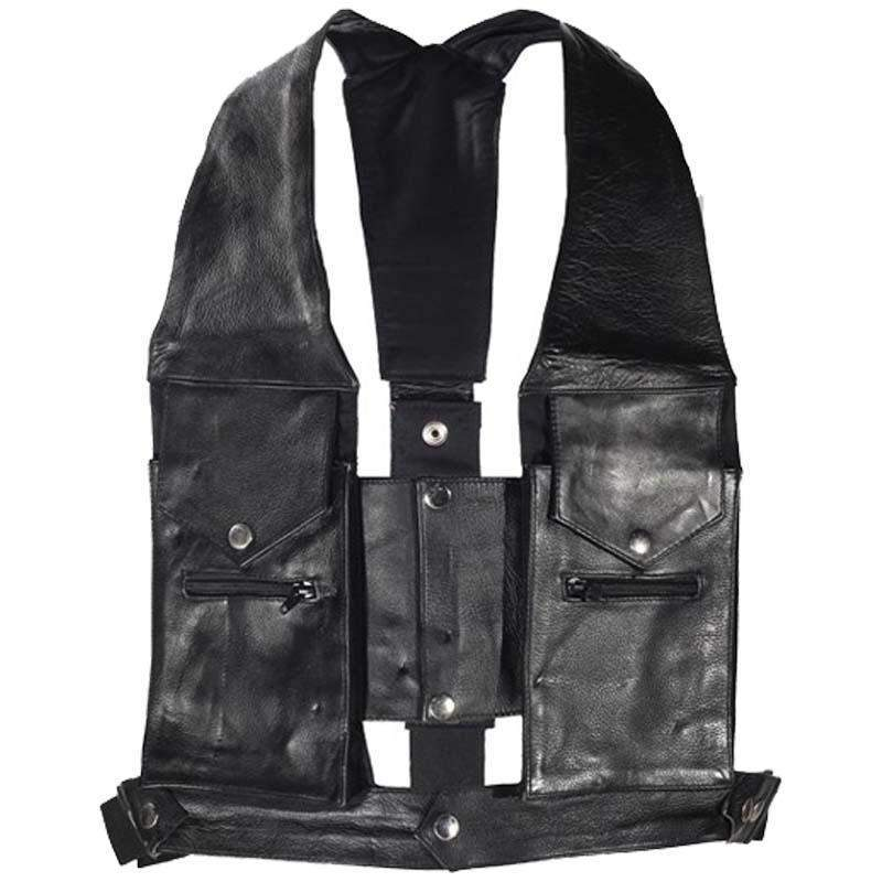 Cowhide Leather Commando Style Pocket Vest - SKU GRL-AC1888-DL-mens leather motorcycle club vest-Ghost Rider Leather