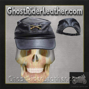Leather Rebel Cap With Crossed Rifles and Adjustable Back / SKU GRL-AC30-DL - Ghost Rider Leather
