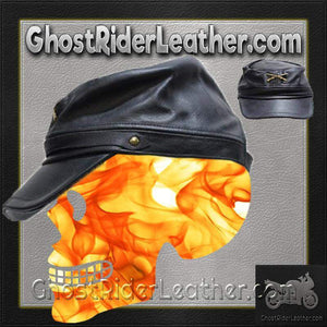 Leather Rebel Cap With Crossed Rifles and Adjustable Back / SKU GRL-AC30-DL-leather chain cap-Ghost Rider Leather