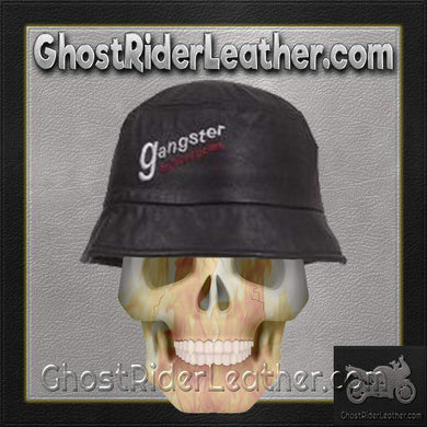 Leather Bucket Cap With Gangster Motorcycles Embroidery / SKU GRL-AC32-DL - Ghost Rider Leather