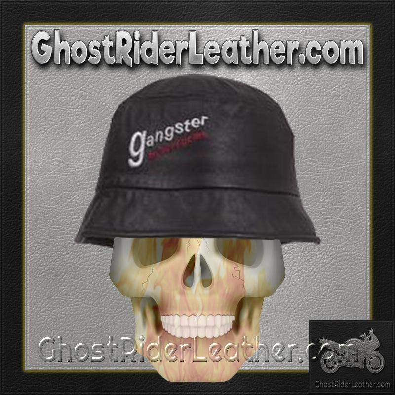 Leather Bucket Cap With Gangster Motorcycles Embroidery / SKU GRL-AC32-DL-leather chain cap-Ghost Rider Leather