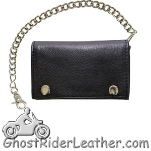 Naked Leather Chain Wallet Trifold With Snaps - GRL-AC52-11-DL - Ghost Rider Leather