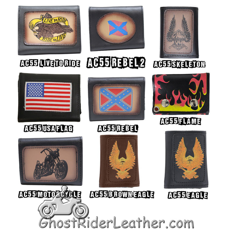 4 inch Motorcycle Leather Chain Wallet - Tri-Fold - Choose Style - SKU GRL-AC55-DL-chain wallet-Ghost Rider Leather