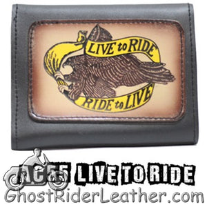 4 inch Motorcycle Leather Chain Wallet - Tri-Fold - Choose Style - SKU GRL-AC55-DL - Ghost Rider Leather